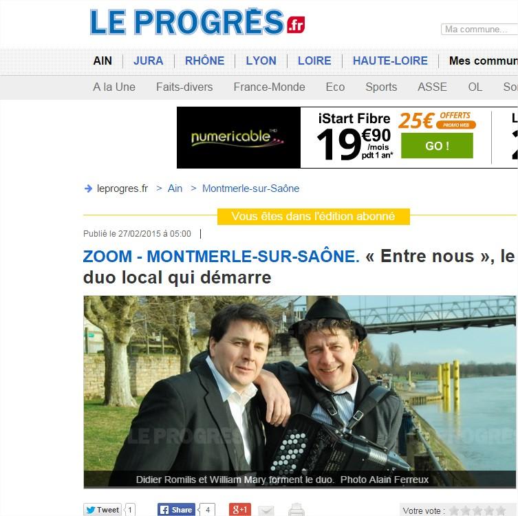 Montmerle-sur-Saône « Entre nous », le duo local qui démarre - Google Chrome